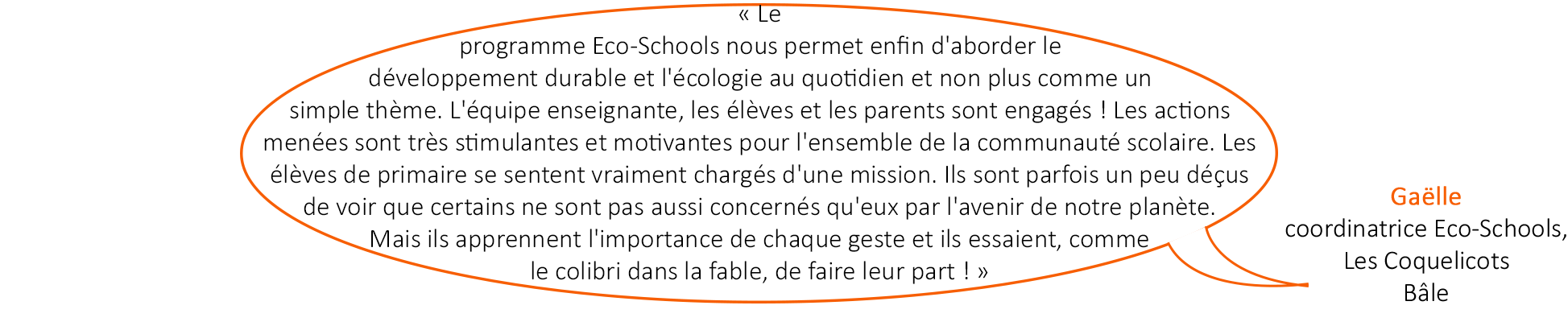 Témoignage à propos du programme Eco-Schools, Ecole des Coquelicots